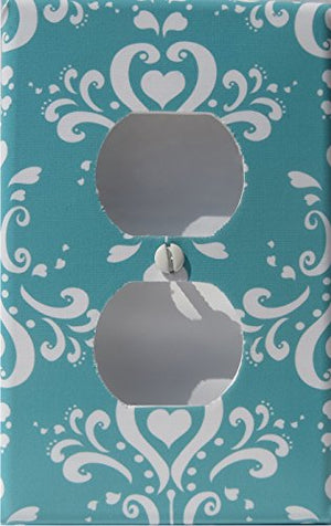Aqua Damask Light Switch Plate and Outlet Covers/Damask with Hearts Nursery Wall Decor