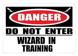 Danger Wizard In Training Wall Decal Sticker / Door Sign Wizard Wall Decor