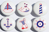 Navy Nautical Drawer Pulls/Ceramic Cabinet Knobs/Nursery Decor/Set of 6