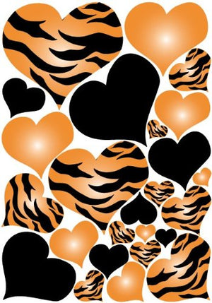 Tiger Print Orange Radial Hearts Zebra Print Wall Sticker Decals on a 18in by 25in sheet