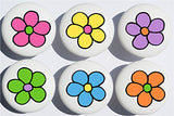 Daisy Pop Flower Drawer Pulls / Flower Ceramic Drawer Knobs, Set of 6