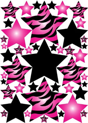 Hot Pink 3D Zebra Print Star Wall Sticker Decals