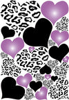 Leopard Print Hearts Wall Decals in Purple Radial and Black Wall Stickers / Decals