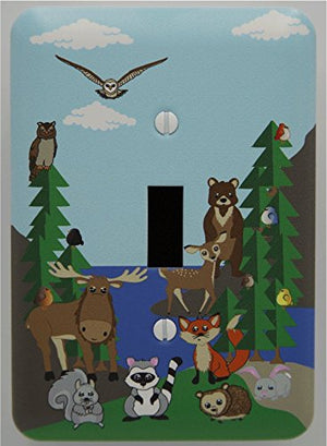 Woodland Forest Animal Light Switch Plate and Outlet Covers,  Owls, Fox, Bear, Squirrel, Deer, Hedge Hog, Moose, Rabbit and Raccoon.