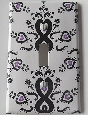 Damask with Purple Radial Hearts Light Switch Plate Cover