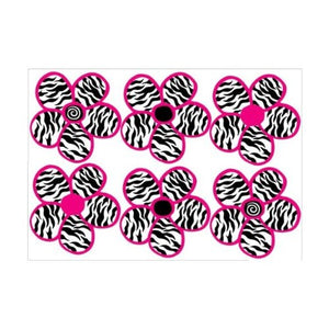 Zebra Print, Black and Hot Pink Flowers Wall Stickers,Decals