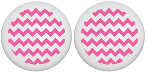 Hot Pink Chevron Print Drawer Knobs/Ceramic Cabinet Pulls Chevrons Nursery Decor (Set of Two)