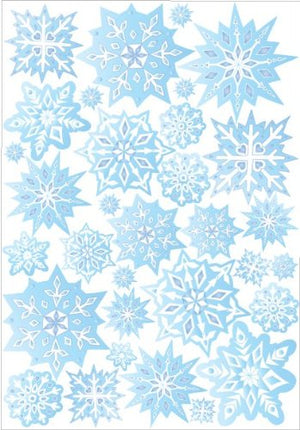 Blue Snow Flakes Wall Stickers / Snowflake Wall Decor in Ice Blue / 32 Snowflake Wall Decals