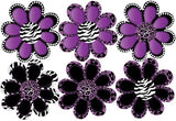 Purple Animal Print octi- petal Flowers Wall Stickers, Decals Decor