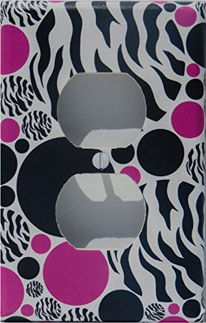 Zebra Print Dot Outlet Switch Plate Cover / Childrens Animal Print Wall Decor with Zebra Print, Hot Pink and Black Dots