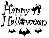 Happy Halloween Wall Decals with a Raven, Black Cat, and Bat Wall Stickers