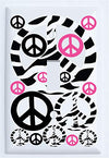 Hot Pink Zebra Print Peace Sign Light Switch Plate Covers in Pink and Black/Peace Wall Plates