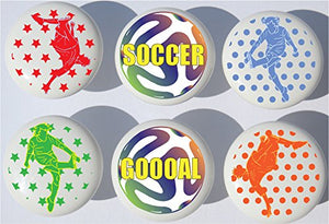 Boys Soccer Drawer Pulls/Ceramic Soccer Cabinet Knobs/Set of 6