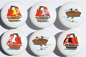 Pirate Ship Drawer Pull Knobs / Ceramic Cabinet Pulls / Pirate Room Decor