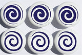 Navy Blue Swirly Spirals Polka Dot Drawer Knobs Whimsical Swirls Ceramic Cabinet Pulls for Nursery or Children's Room Decor (Set of 6)