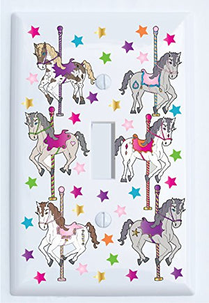 Carousel Horse Light Switch Plate and Outlet Covers for the Wall/Horse Pony Room Decor