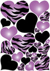Purple Radial Hearts, Black Hearts, and Zebra Print Heart Wall Decals on a 18in By 25in Sheet