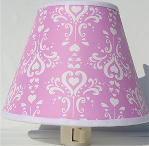 Pink Damask Night Light / Pink and White Nursery Wall Decor
