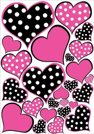 Hot Pink and Black Polka dot Heart Wall Decals Stickers / Childrens Wall Decor