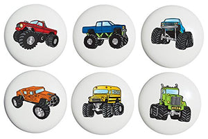 Monster Truck Ceramic Drawer Knobs / Drawer Handle Pulls, Set of 6
