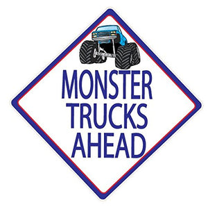 Monster Truck Wall Decals / Street Sign Wall Decals / Monster Trucks Ahead / Truck Wall Stickers