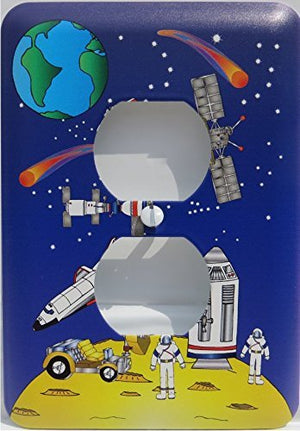 Outer Space Light Switch Plate and Outlet Covers with Moon, , Astronauts, Stars, Comets, Planet Earth, Space Shuttle,  Spaceships