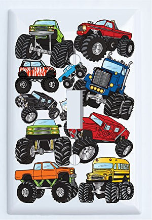Monster Truck Light Switch Plates Covers Wall Decor / Single Toggle Monster Truck Wall Decor