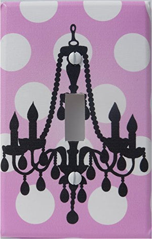 Chandelier Light Switch Plate Cover/ Single Toggle / Pink with White Polka Dots Wall Decor