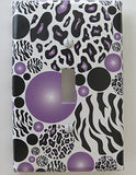 Purple Radial Leopard and Zebra Print Polka Dots Switch Plate Covers