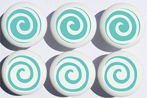 Aqua Blue Green Swirly Spiral Polka Dot Drawer Knobs Whimsical Swirls Ceramic Cabinet Pulls for Nursery or Children's Room Decor (Set of 6)