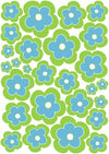 Sea Escape Blue and Green Flower Wall Stickers