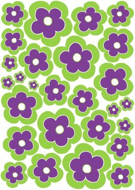 Purple and Green Flower Wall Decals