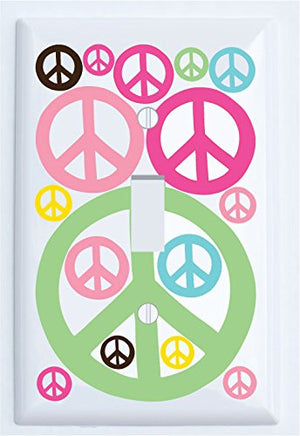 Multi Colored Peace Signs Light Switch Plates in Hot Pink, Pink, Blue, Green, Yellow, and Brown