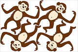 Brown Barrel Monkey Wall Decals Stickers