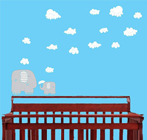 Blue and Grey Elephant Wall Decals/Elephants Wall Stickers with Blue and White Clouds Wall Decals