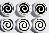 Black Swirly Spiral Polka Dot Drawer Knobs/Whimsical Swirls Ceramic Cabinet Pulls for Nursery or Children's Room Decor (Set of 6)