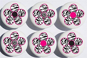 Zebra Print Daisy Flower Drawer Pulls / Ceramic Drawer Knob Handles, Set of 6