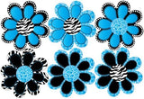 Blue Zebra and Leopard Print / Animal Print octi- petal Flowers Wall Stickers, Decals