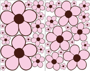 Pink with Brown center Daisy Flower Wall Stickers, Decals, Decor
