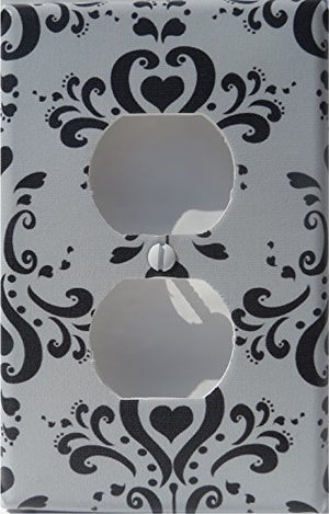 Black and Gray Damask Light Switch Plate and Outlet Covers / Damask Nursery Wall Decor