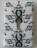 Damask with Blue Radial Hearts Light Switch Plate Cover