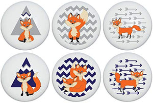 Fox Family Woodland Forest Animal Ceramic Dresser Cabinet Drawer Knobs Pulls with Arrows and Chevrons Children's Nursery Decor (Set of 6)