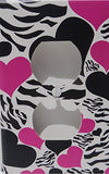 Zebra Print Hearts Outlet Switch Plate Cover / Childrens Wall Decor in Hot Pink and Black