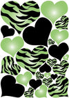 Green Radial, Zebra Print, and Black Hearts Wall Sticker Decals