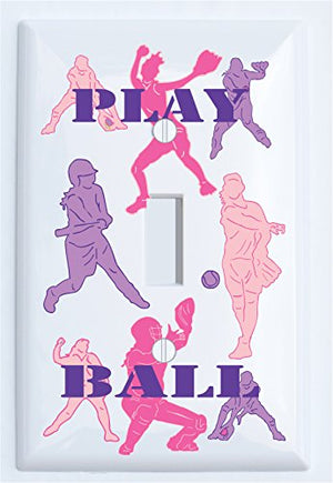 Softball Switch Plate Covers / Single Toggle Girls Softball Light Switch Plates in Pinks and Purple