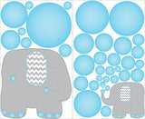 Blue and Grey Elephant Wall Decals/Jungle Safari Elephants with Blue Bubble Wall Decals