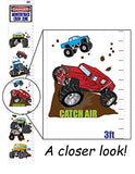 Monster Truck Growth Chart Wall Art Vinyl Removable Adhesive Monster Truck Wall Decals Stickers Children's Decor