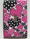 Polka Dot Hot Pink Heart Light Switch Plate Covers