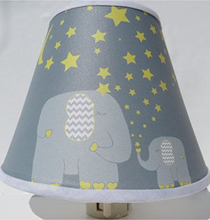 Elephant Night Lights with Yellow Stars and Moon / Elephant Nursery Wall Decor