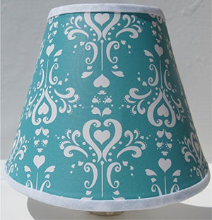 Aqua Damask Night Light / Aqua and White Nursery Wall Decor